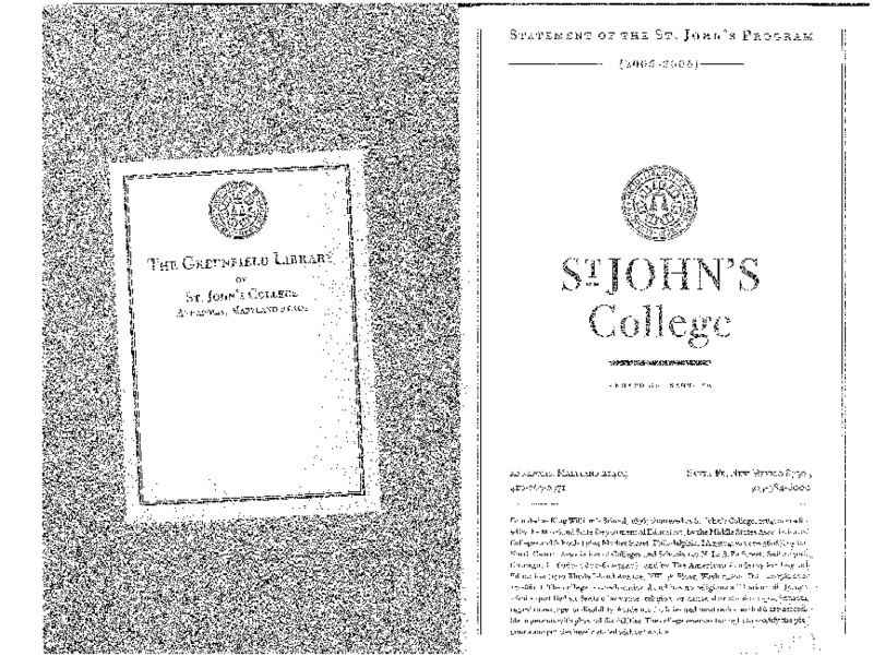 Statement of the St. John's Program 2005-2006