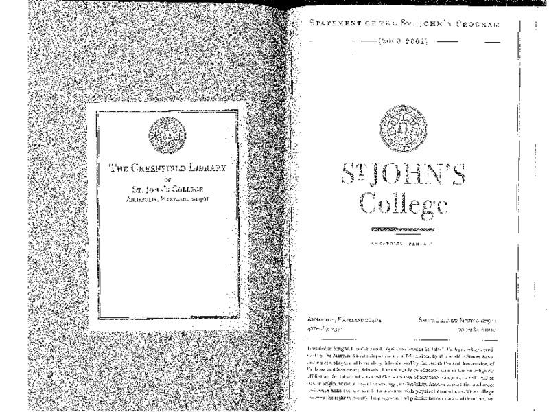 Statement of the St. John's Program 2000-2001