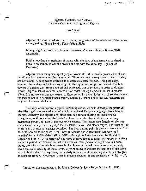 Secrets, symbols, and systems : François Viète and the origins of ...