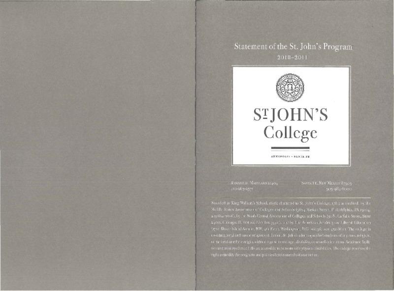 Statement of the St. John's Program 2010-2011
