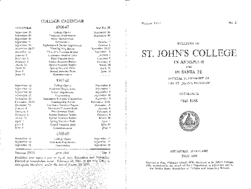 Bulletin of St. John's College in Annapolis and Santa Fe:  Official Statement of the St. John's Program, Catalogue 1966-1968