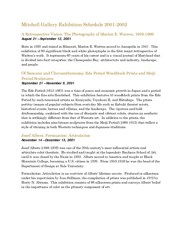 Mitchell Gallery Exhibition Schedule 2001-2002.pdf