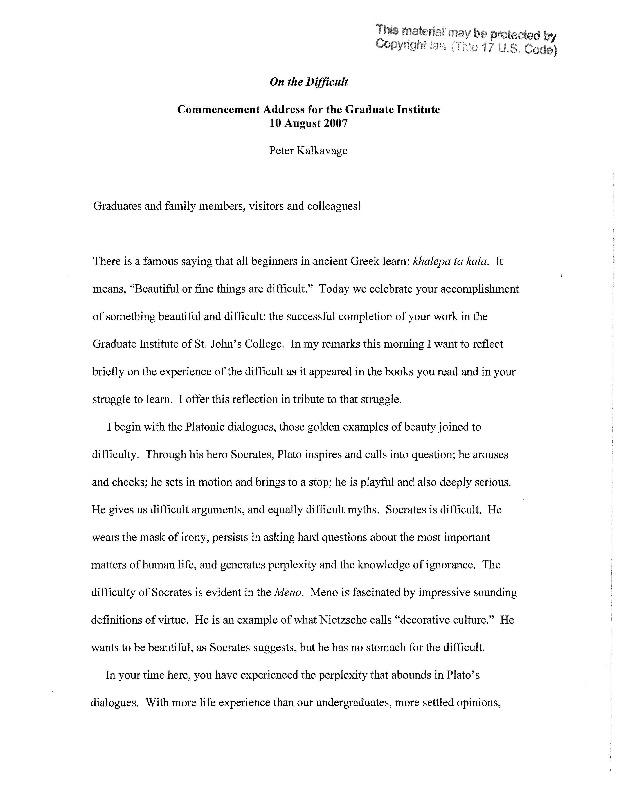 Graduate Institute Commencement Address 2007, Peter Kalkavage.pdf