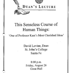 This senseless course of human things : 'one of Professor Kant's most cherished ideas'