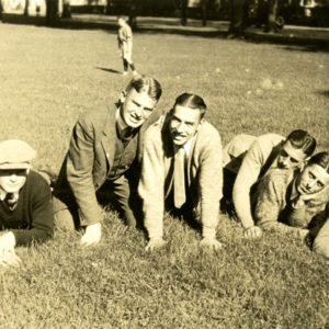 James J. Dugan, A. Morris Cunningham, Carter V. Jarvis, Lawton T. Sharp and John M. Webb, Jr. on Sitting on the Lawn on Front Campus, St. John's College, Annapolis, Maryland