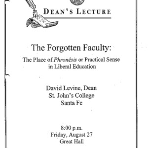 The forgotten faculty : the place of phronesis or practical sense in liberal education