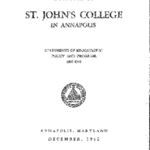 Bulletin of St. John's College in Annapolis, December 1952