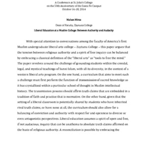 Liberal education at a Muslim college : between authority and audacity