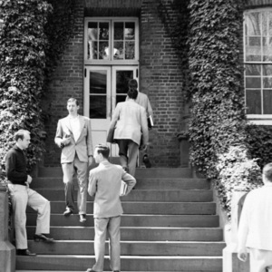 Students Standing on Stairs of McDowell Hall, St. John's College, Annapolis, Maryland