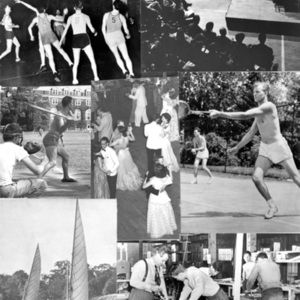 Collage of St. John's College Student Activities including Students Playing Basketball in Iglehart Hall, Musical Concert, Students Playing Baseball on Back Campus, Students Playing Tennis, Students Dancing, Students Sailing, Students Building Boats