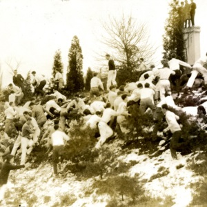 Students Climbing a Hill on Back Campus in the Snow, St. John's College, Annapolis, Maryland