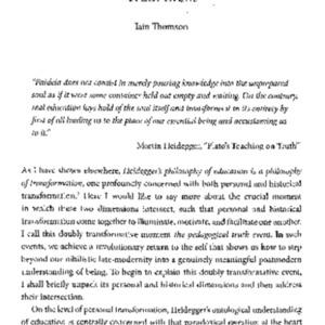 Heideggerian perfectionism and the phenomenology of the pedagogical truth event