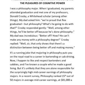 Philosophical training, dynamic thought, and the pleasures of cognitive power