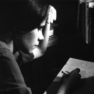 Student Seated at Desk Writing a Note, St. John's College, Annapolis, Maryland