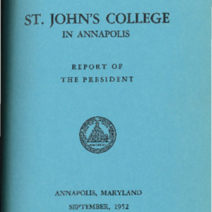 Bulletin of St. John's College in Annapolis, September 1952