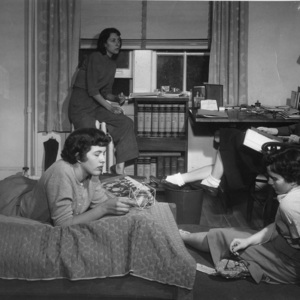 Emily Martin (Kutler) and Three Female Students Studying in A Dorm Room in Campbell Hall