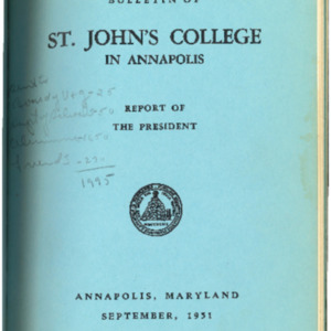 Bulletin of St. John's College in Annapolis, September 1951