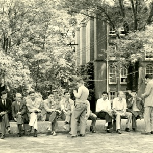 William W. Simmons, Archibald McCourt, Allan P. Hoffman, Herbert J. Baer and Students Seated outside Chase-Stone House, St. John's College, Annapolis, Maryland